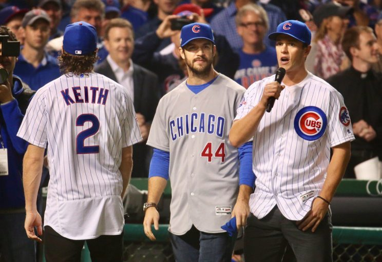 Toews, Keith, Seabrook sing 'Take Me Out to the Ball Game' at N…