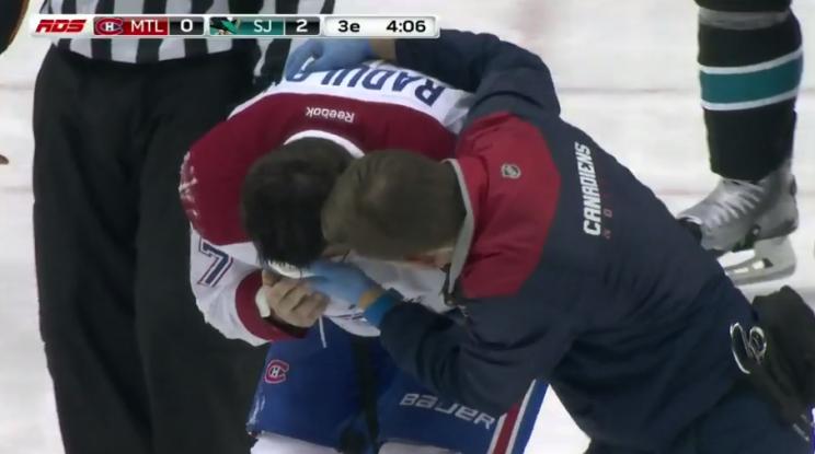 Alex Radulov bloodied by Logan Couture high stick (Video)