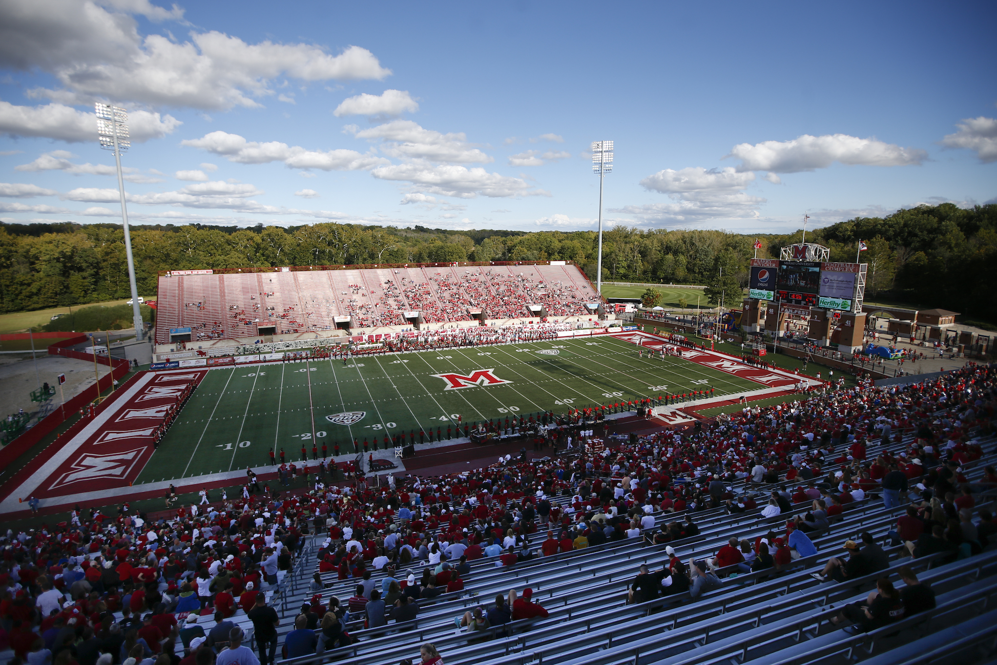 A general overview of Yager Stadium is seen in the first half of an NCAA college football game between Miami of Ohio and Cincinnati, Saturday, Sept. 19, 2015, in Oxford, Ohio. Cincinnati won 37-33. (AP Photo/John Minchillo)