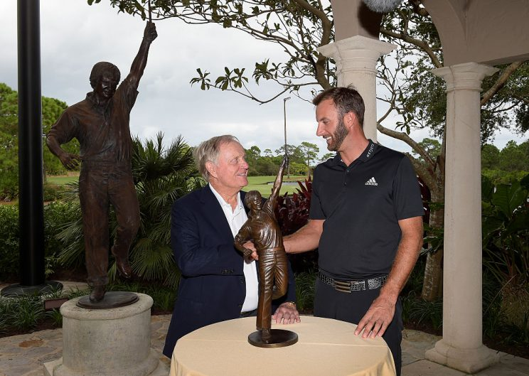 Jack Nicklaus presents Dustin Johnson with the Jack Nicklaus Trophy for winning PGA TOUR Player of the Year during the Player of the Year ceremony with Jack Nicklaus at The Bear's Club on October 11, 2016 in Jupiter, Florida. (Photo by Stan Badz/PGA TOUR)