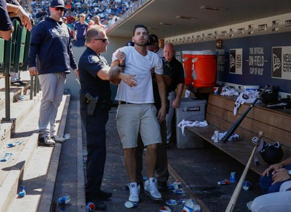A fan reportedly tumbled into the Yankees dugout during Wednesday's game at Safeco Field. (Getty Images)