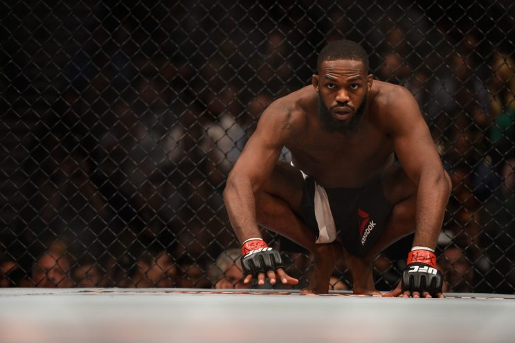 Jon Jones crouches in his corner before facing Ovince Saint Preux in their interim UFC light heavyweight championship bout during the UFC 197 event inside MGM Grand Garden Arena on April 23, 2016 in Las Vegas, Nevada. (Photo by Jeff Bottari/Zuffa LLC/Zuffa LLC via Getty Images)