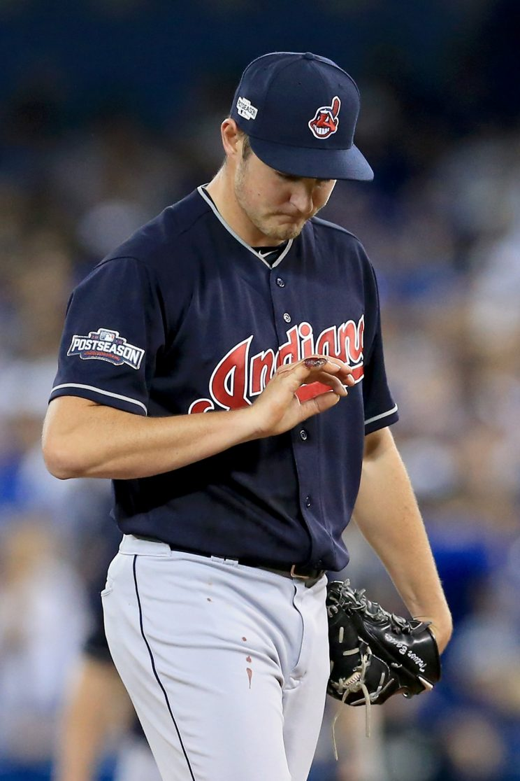 Trevor Bauer forced to leave ALCS Game 3 because of bloody fing…