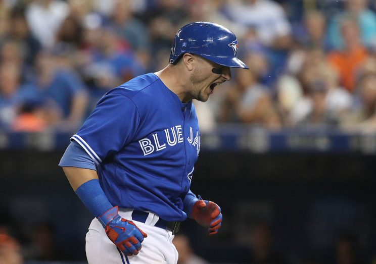 TORONTO, CANADA - JULY 31: Troy Tulowitzki #2 of the Toronto Blue Jays reacts after being hit by pitch in the sixth inning during MLB game action against the Baltimore Orioles on July 31, 2016 at Rogers Centre in Toronto, Ontario, Canada. (Photo by Tom Szczerbowski/Getty Images)
