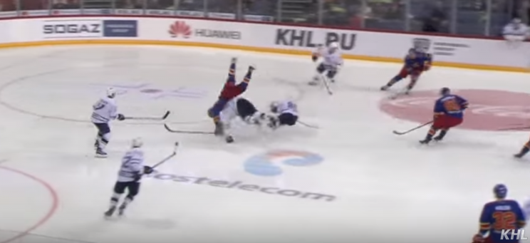 Monster hip-check leads to odd goal in KHL (Video)