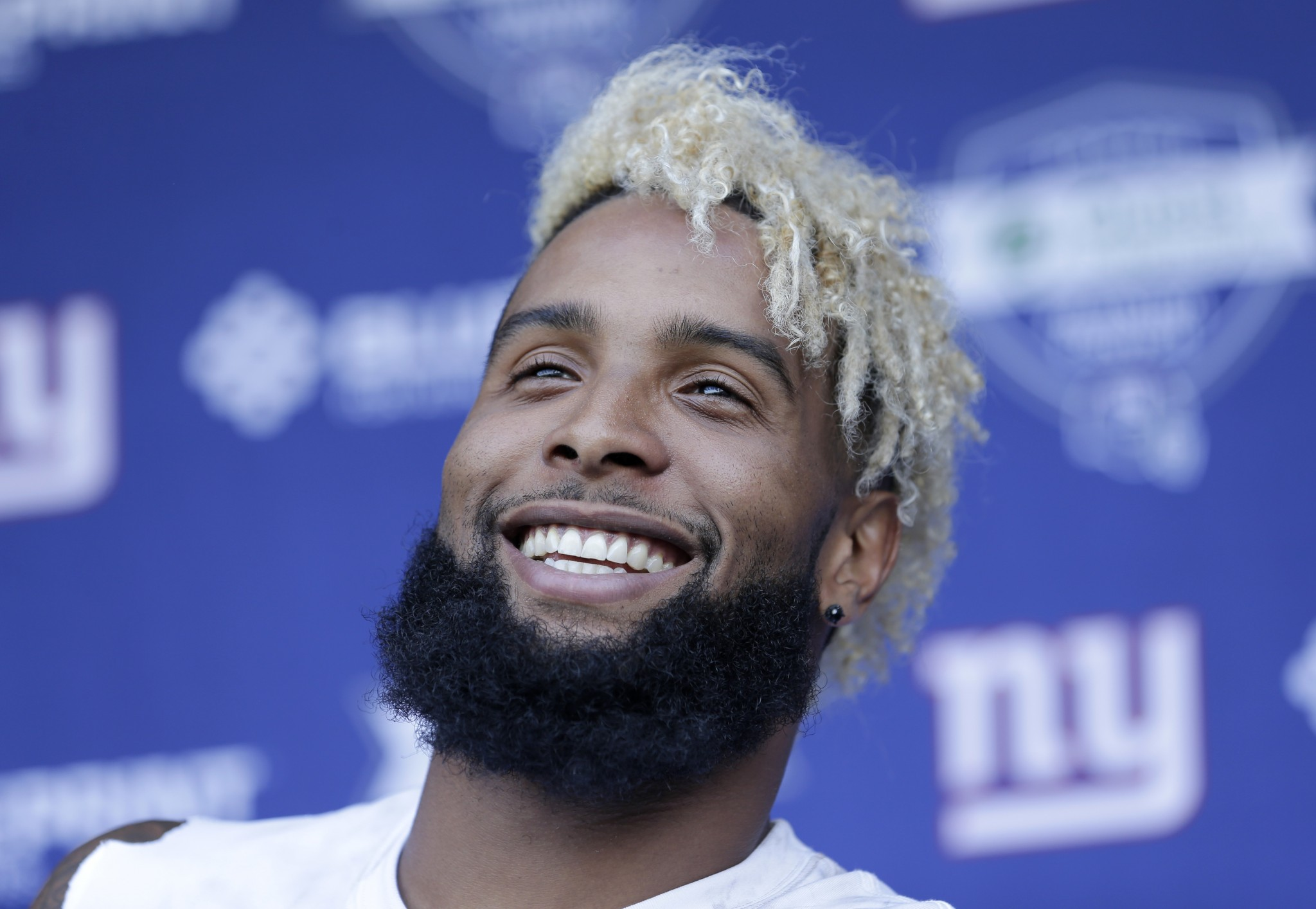All smiles: Giants WR Odell Beckham Jr. made an ailing young fan's wish come true. (AP)