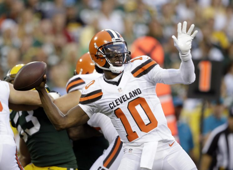 Robert Griffin III made his Cleveland Browns debut on Friday night (AP)
