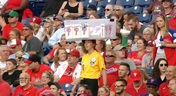 Phillies vendor carries her popcorn in a very unusual way