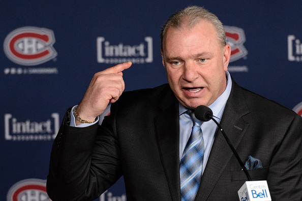 MONTREAL, QC - JANUARY 19: Head coach of the Montreal Canadiens Michel Therrien addresses the media after losing to the Boston Bruins 4-1 during the NHL game at the Bell Centre on January 19, 2016 in Montreal, Quebec, Canada. (Photo by Minas Panagiotakis/Getty Images)