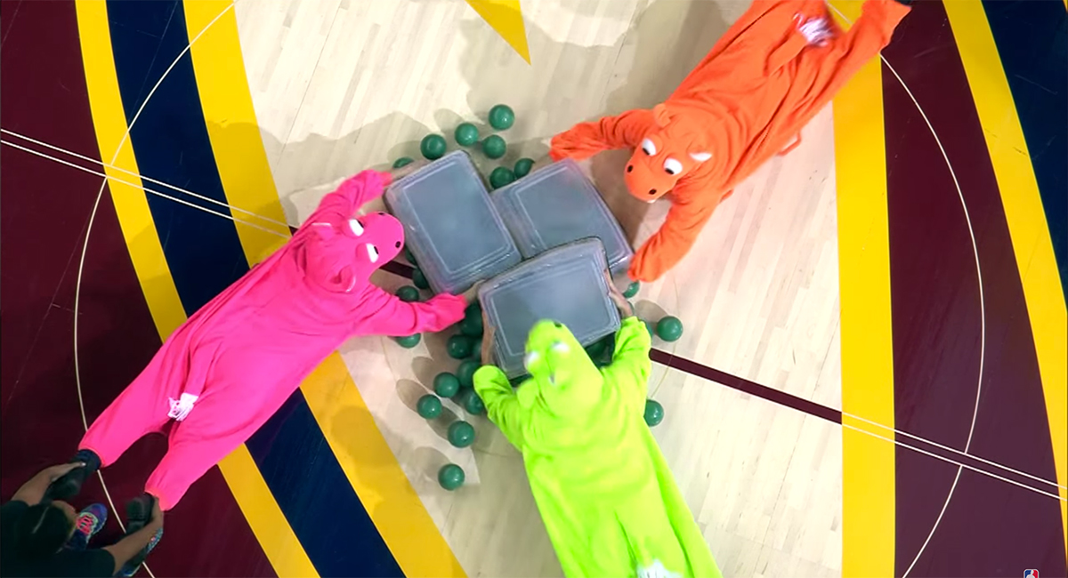 There was a real-life 'Hungry Hungry Hippos' game during Cavs-H…