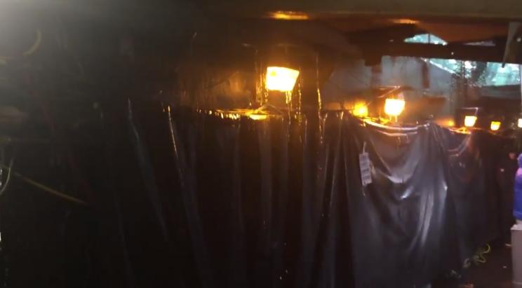 Oakland's coliseum is leaking under heavy rains