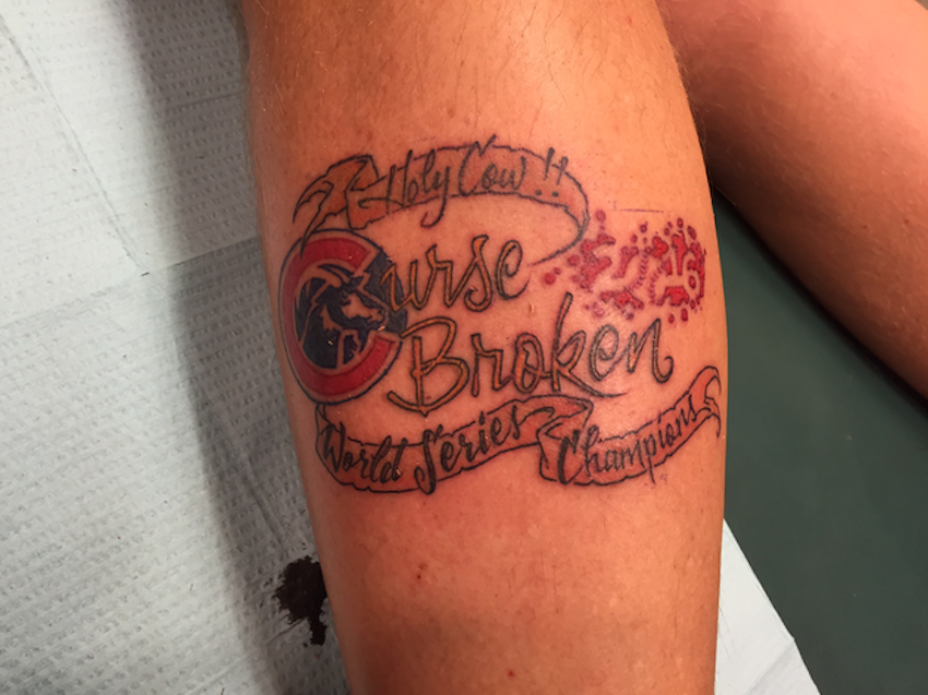 This Cubs fan already got his 'World Series Champions' tattoo