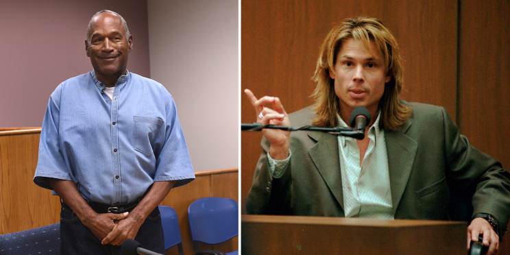 O.J. Simpson at his parole hearing Thursday and Kato Kaelin circa 1995. (AP)