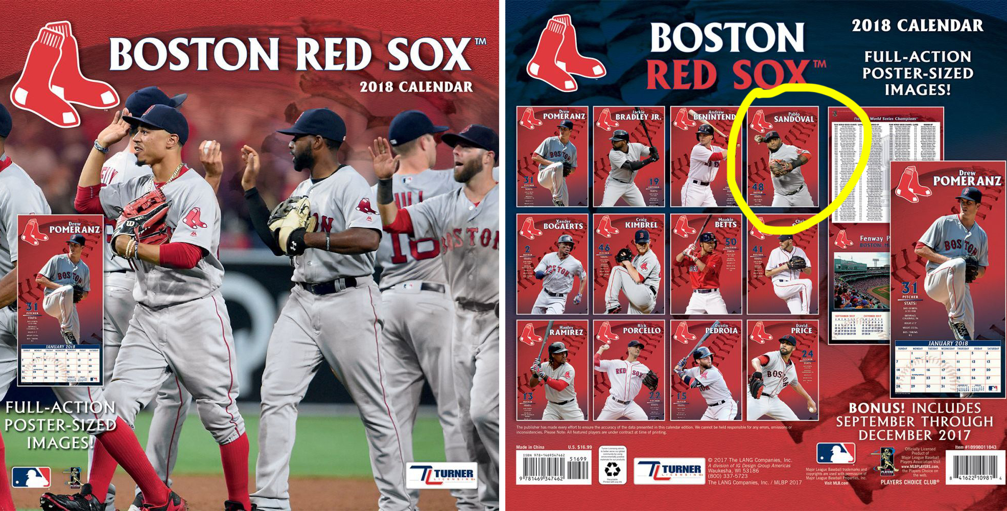 Red Sox's 2018 calendar features Pablo Sandoval for some reason