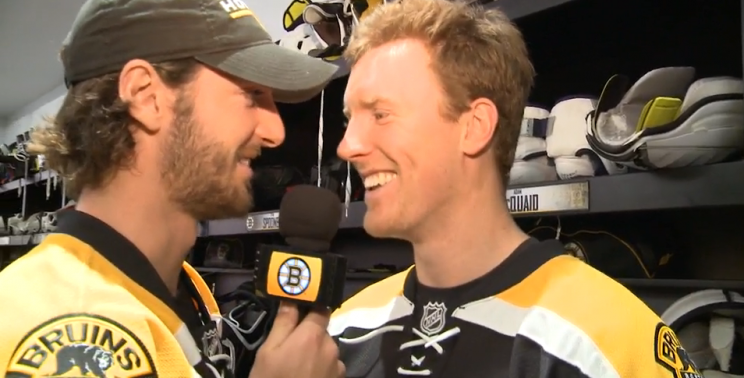 Bruins' Colin Miller, Riley Nash show off their interviewing 's…