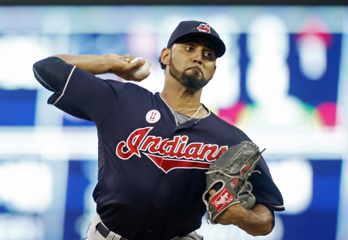 Danny Salazar is working his way toward a return in the World Series. (AP)