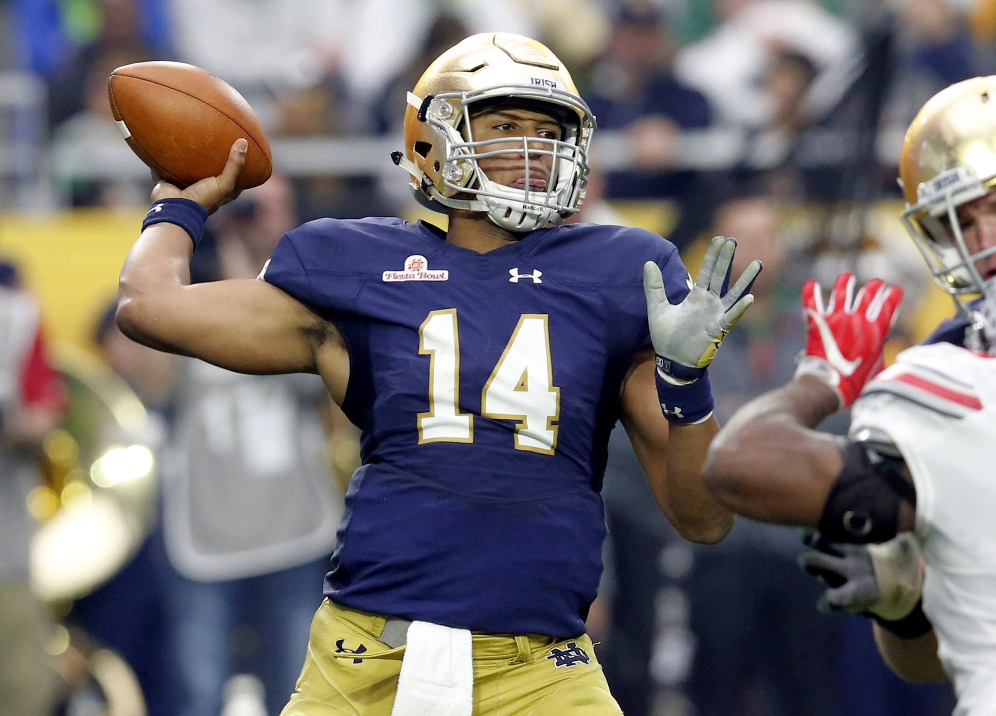 Notre Dame quarterback DeShone Kizer. (AP Photo/Rick Scuteri, File)
