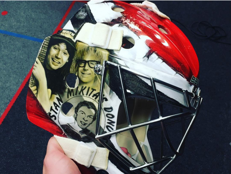 Scott Darling's mask tribute to Wayne's World: SCHWING!