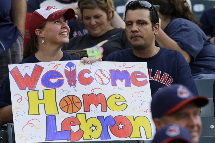 LeBron James was welcomed back to Cleveland with open arms. (AP)