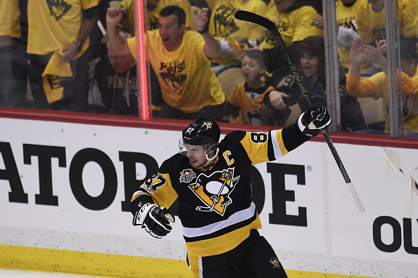 PITTSBURGH, PA - APRIL 14: Pittsburgh Penguins Center Sidney Crosby (87) celebrates his goal during the first period in Game Two of the Eastern Conference First Round in the 2017 NHL Stanley Cup Playoffs between the Columbus Blue Jackets and the Pittsburgh Penguins on April 14, 2017, at PPG Paints Arena in Pittsburgh, PA. (Photo by Jeanine Leech/Icon Sportswire via Getty Images)
