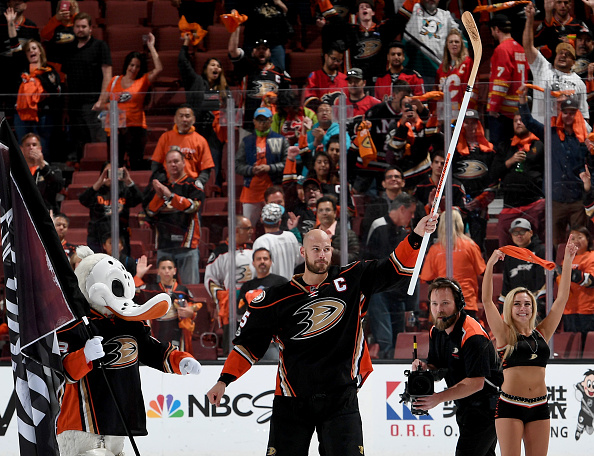 ANAHEIM, CA - APRIL 15: Ryan Getzlaf #15 of the Anaheim Ducks acknowledges the fans after the game against the Calgary Flames in Game Two of the Western Conference First Round during the 2017 NHL Stanley Cup Playoffs at Honda Center on April 15, 2017 in Anaheim, California. Getzlaf's third period goal proved to be the game winner as the Ducks beat the Flames, 3-2. (Photo by Robert Binder/NHLI via Getty Images)