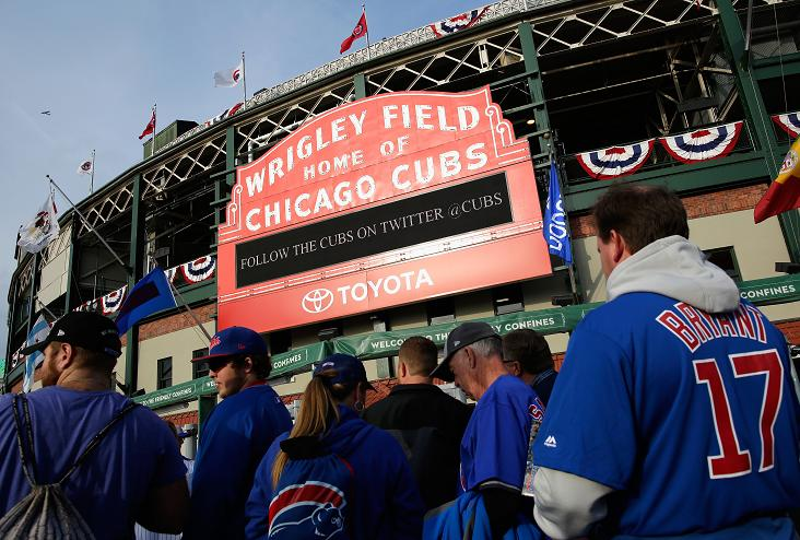 Cubs fans camp outside Wrigley Field hoping for NLCS tickets