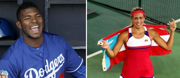 Yasiel Puig supported Monica Puig during her historic gold medal victory. (AP Photos)