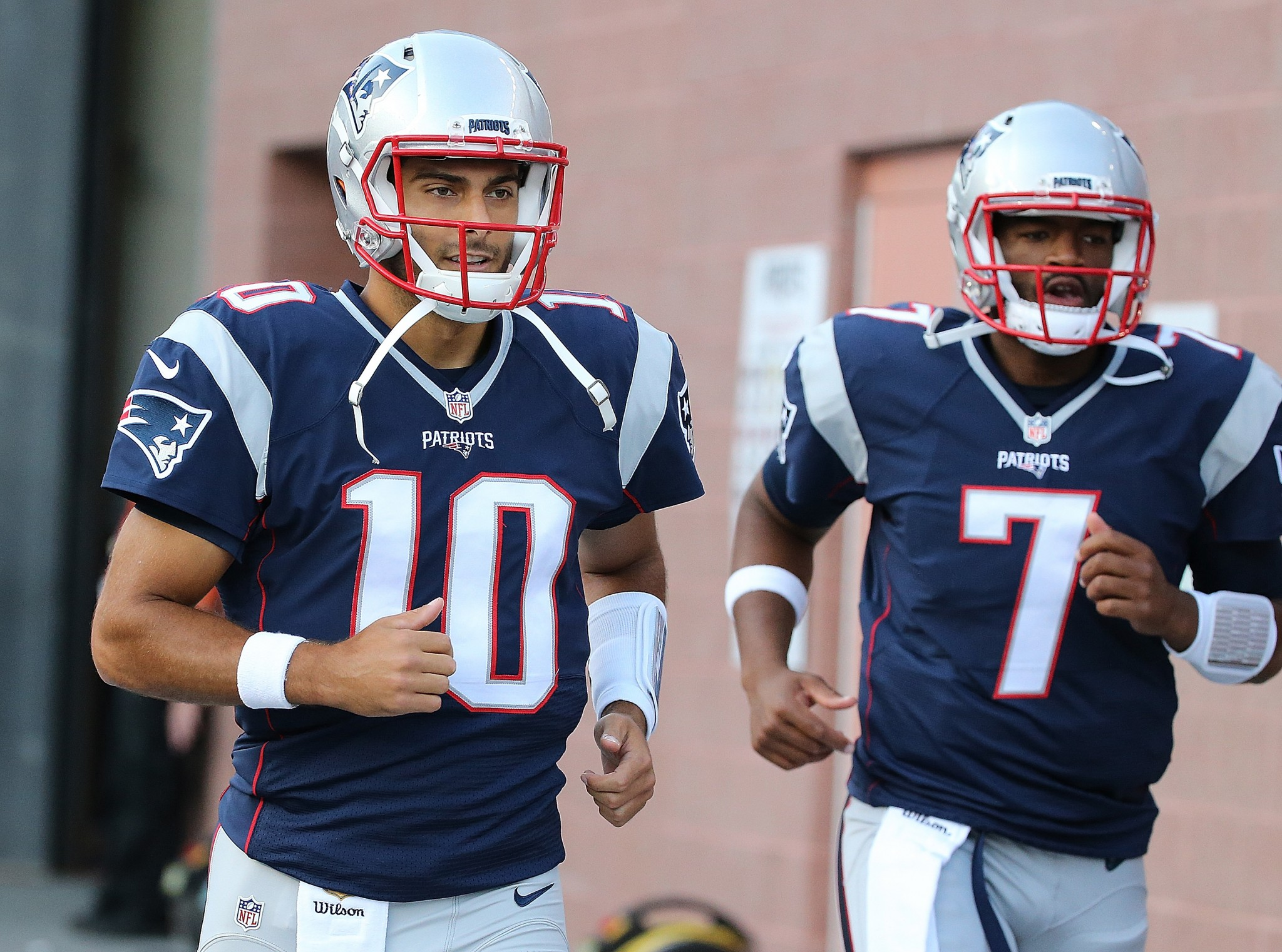 Both Jimmy Garoppolo and Jacoby Brissett at practice
