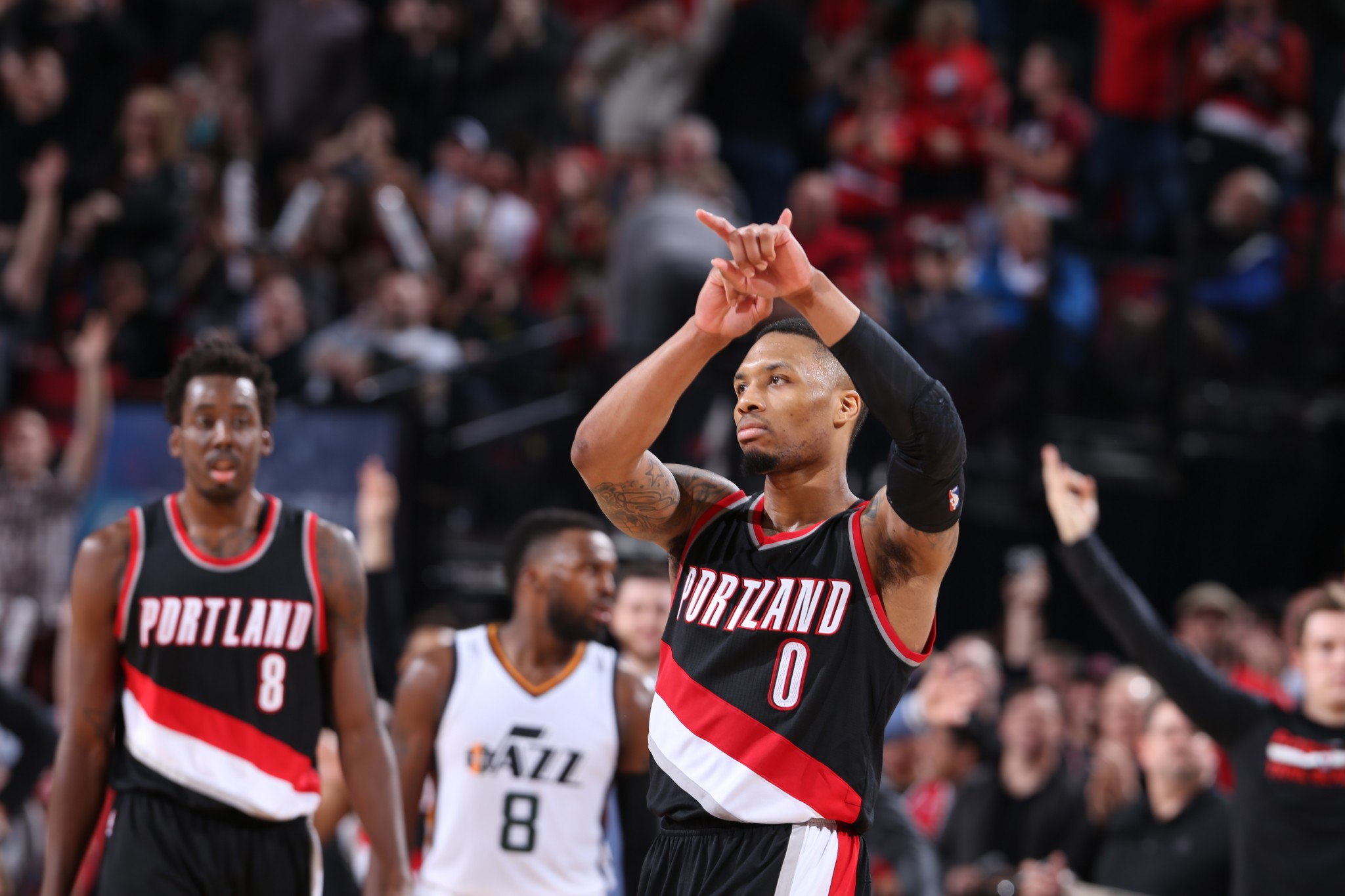 Damian Lillard lets everyone in the gym know what time it is. (Getty Images)