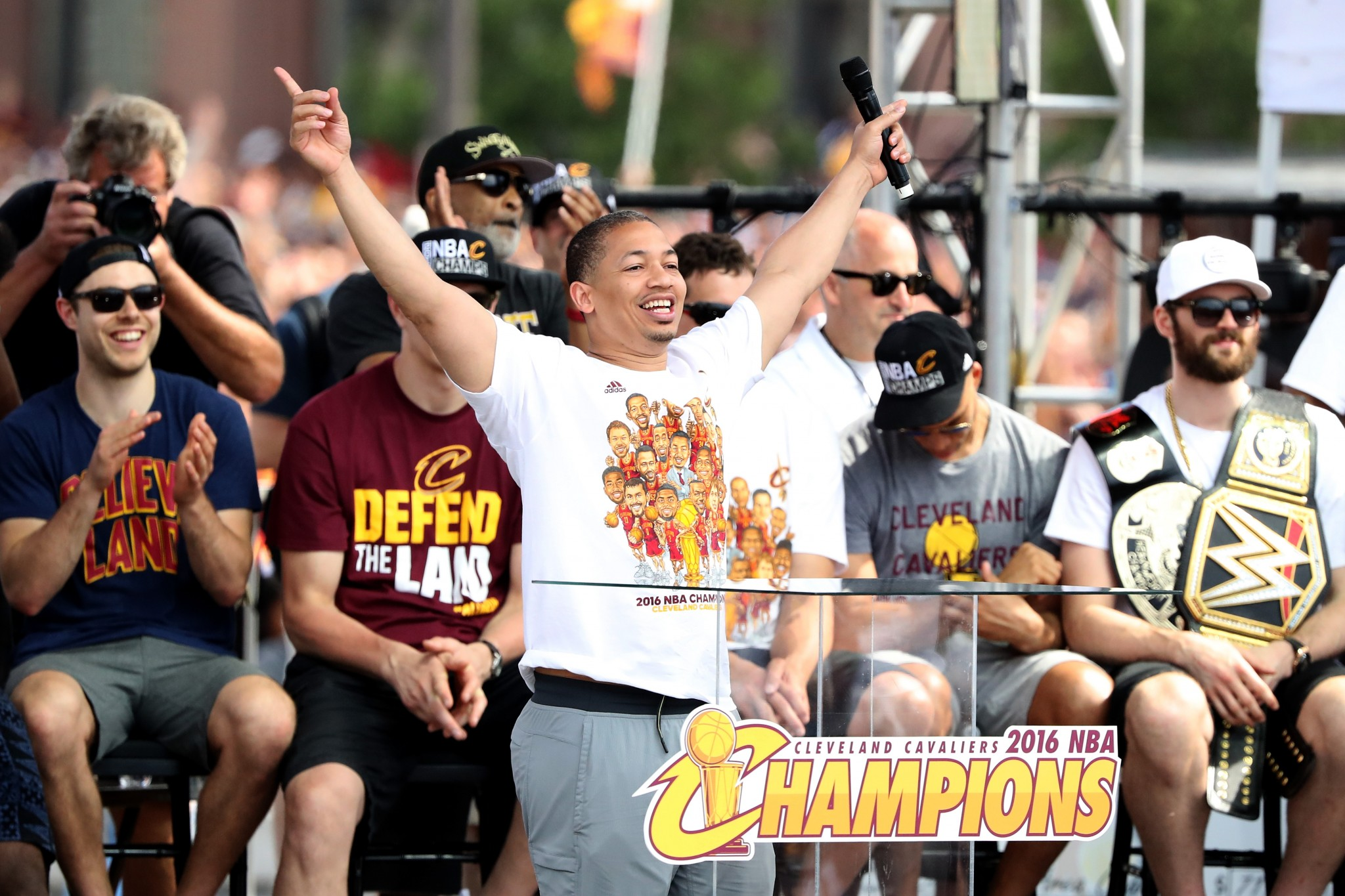 Tyronn Lue points to various elevated locations around Cleveland where he stashed cash. (Getty Images)