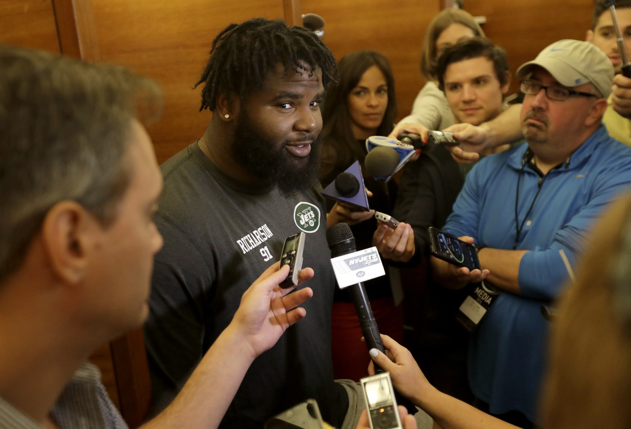 Sheldon Richardson implied the Jets locker room is a better place without Brandon Marshall. (AP)