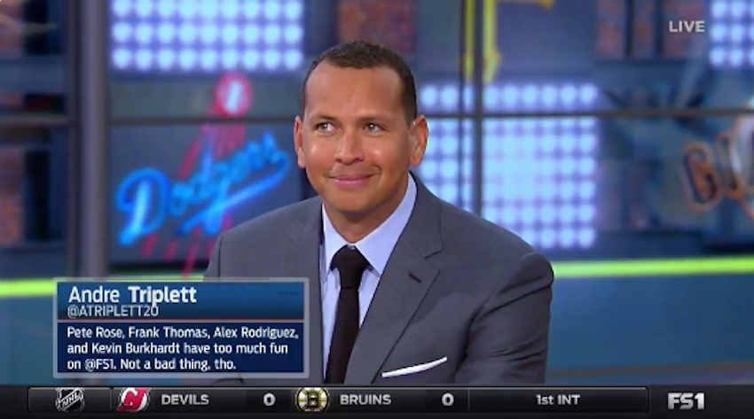Alex Rodriguez cannot stop his face from making that look when Pete Rose starts complimenting Derek Jeter. (Screen Shot via FOX)