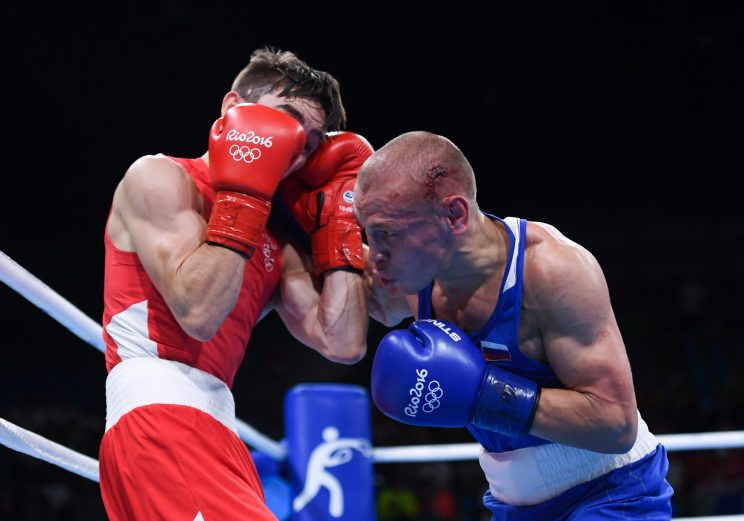 Michael Conlan, in red, and Vladimir Nitinkin (Getty Images)