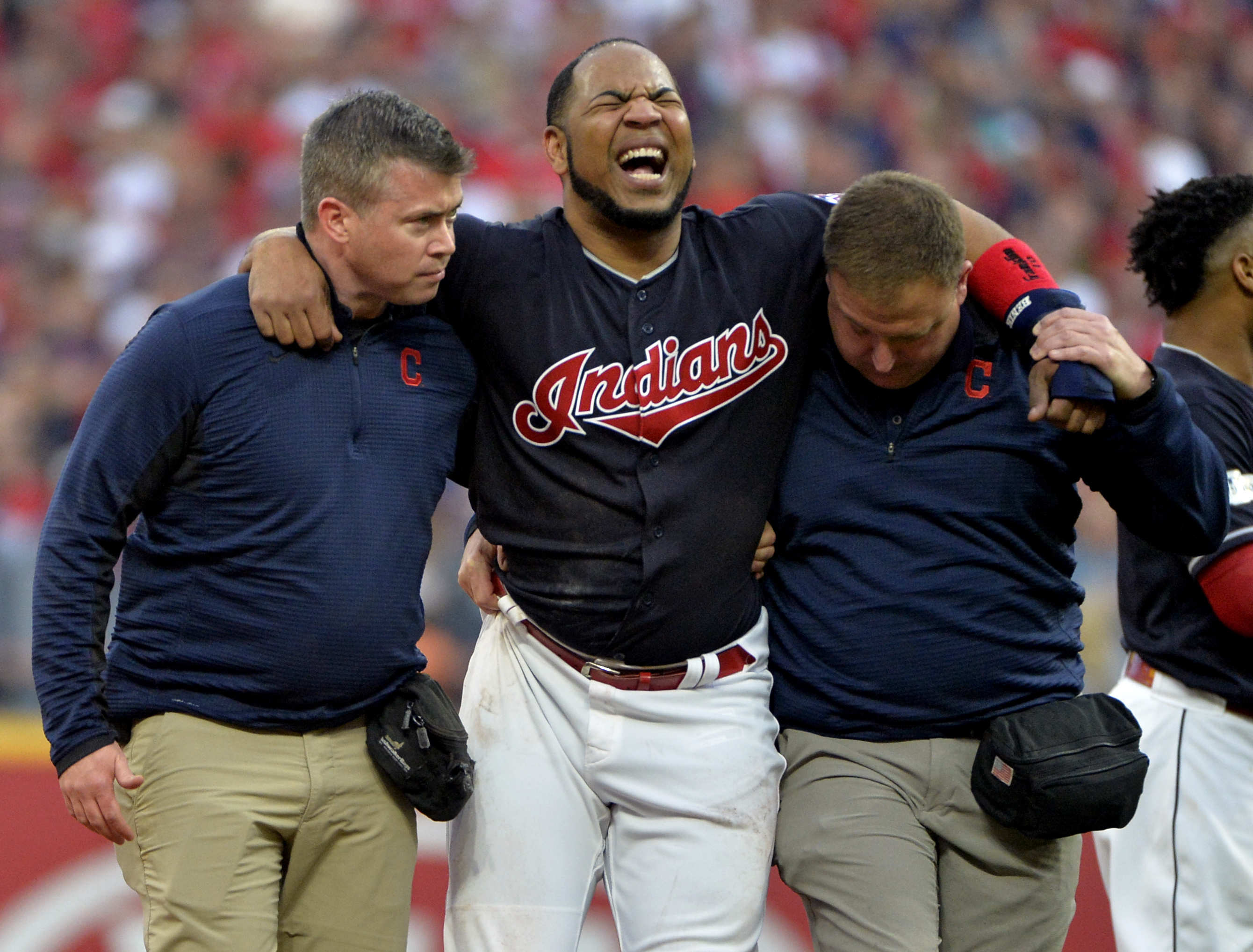 Edwin Encarnacion avoids serious injury after stomach-turning ankle roll