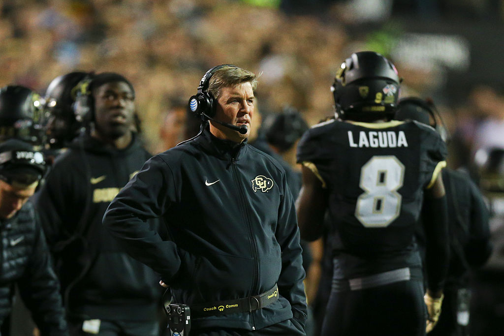 BOULDER, CO - NOVEMBER 13: Head Coach Mike MacIntyre of the Colorado Buffaloes looks on during the first quarter against the USC Trojans at Folsom Field on November 13, 2015 in Boulder, Colorado. (Photo by Justin Edmonds/Getty Images)