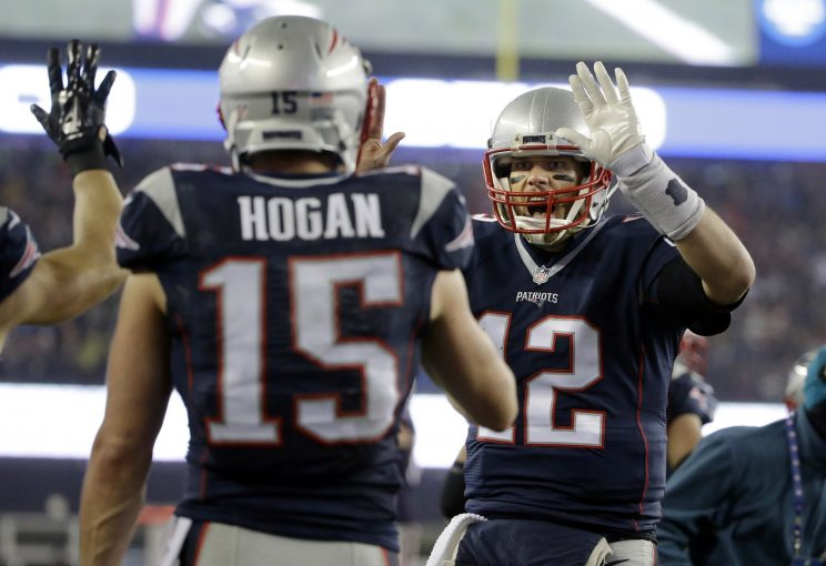Chris Hogan caught a flea flicker touchdown from Tom Brady against the Steelers. (AP)