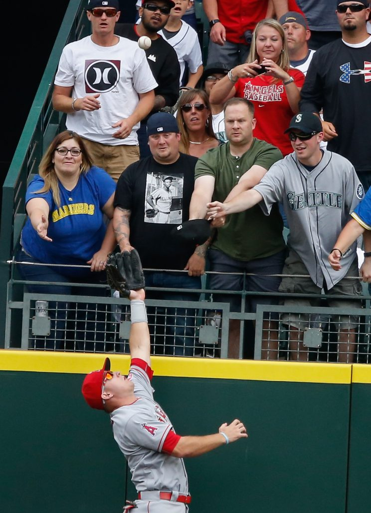 Mike Trout made another home run stealing grab Sunday. (Getty Images/Otto Greule Jr.)