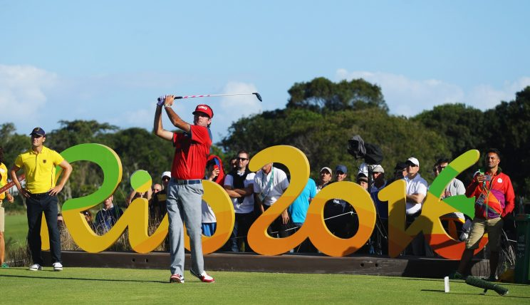 Bubba Watson posing in the third round of the 2016 men's Olympic golf tournament. (Getty Images)