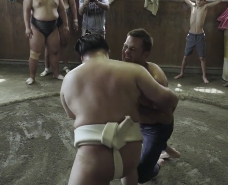 Tom Brady throws down with a sumo wrestler, and it doesn't go well
