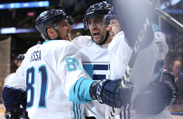TORONTO, ON - SEPTEMBER 25: Tomas Tatar #21 celebrates with Marian Hossa #81 and Anze Kopitar #11 of Team Europe after scoring a third period goal to tie the game against Team Sweden at the semifinal game during the World Cup of Hockey 2016 tournament at the Air Canada Centre on September 25, 2016 in Toronto, Ontario, Canada. (Photo by Andre Ringuette/World Cup of Hockey via Getty Images)