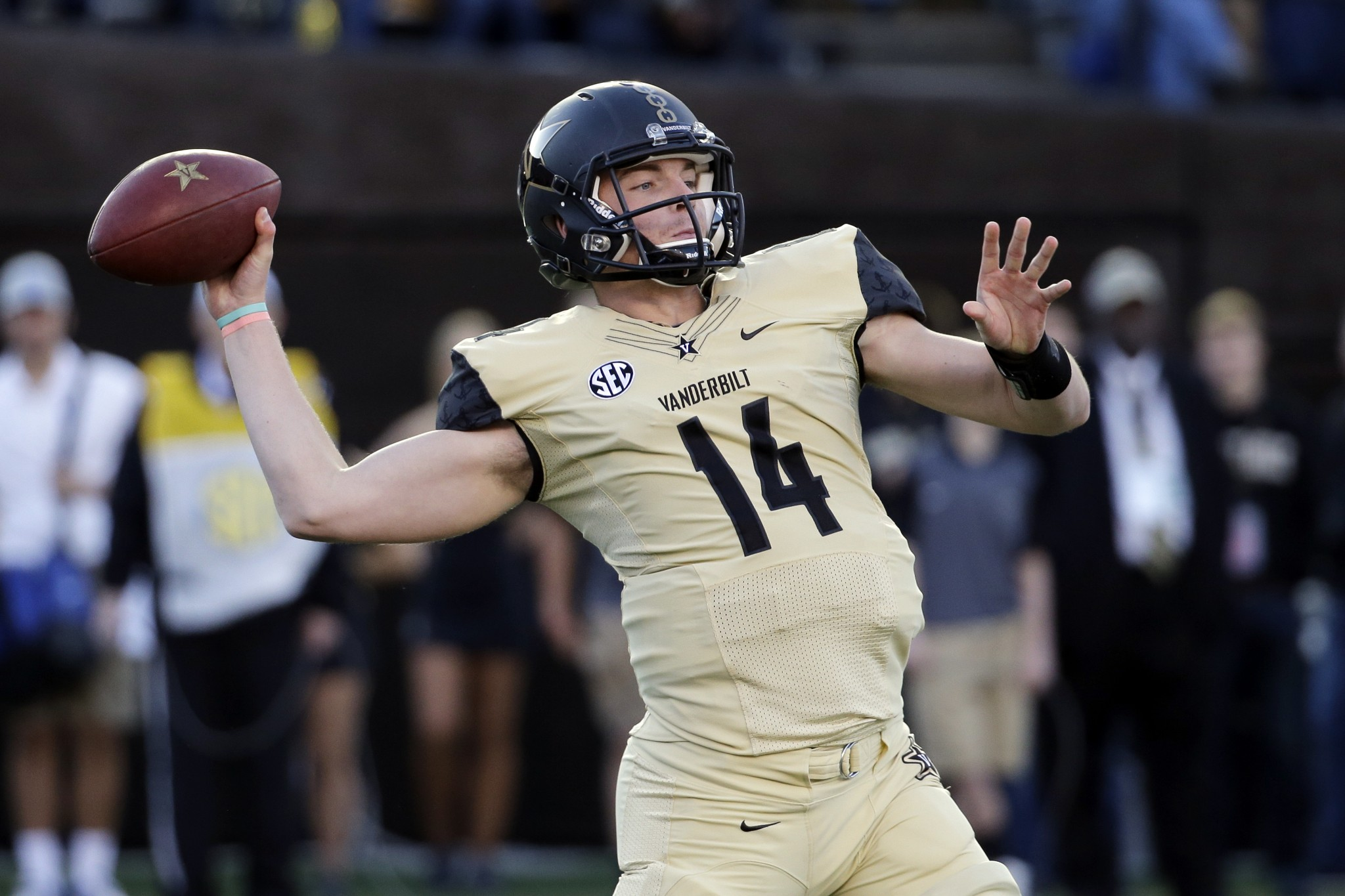 In this Nov. 14, 2015, file photo, Vanderbilt quarterback Kyle Shurmur passes against Kentucky in the first half of an NCAA college football game, in Nashville, Tenn. (AP Photo/Mark Humphrey, File)