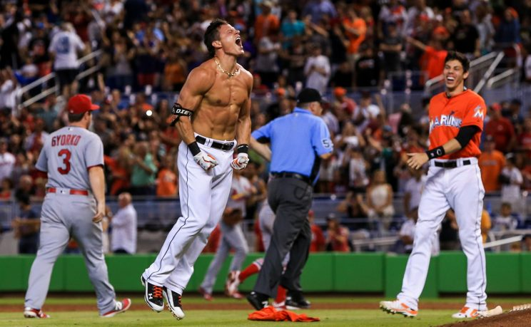 Derek Dietrich enjoyed his walk-off celebration. (Getty Images/Rob Foldy)