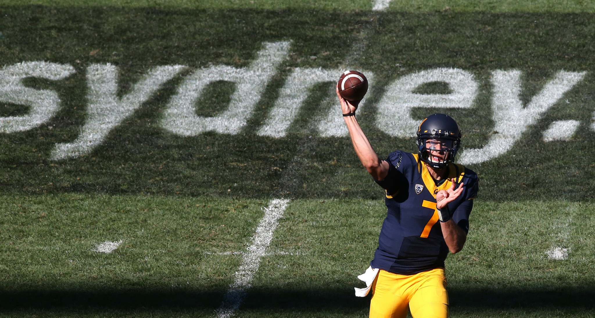 California Golden Bears' quarterback Davis Webb attempts a pass during the opening game of the U.S. college football season against the Hawaii Rainbow Warriors at Sydney's Olympic stadium in Sydney, Saturday, Aug. 27, 2016. (AP Photo/Rick Rycroft)