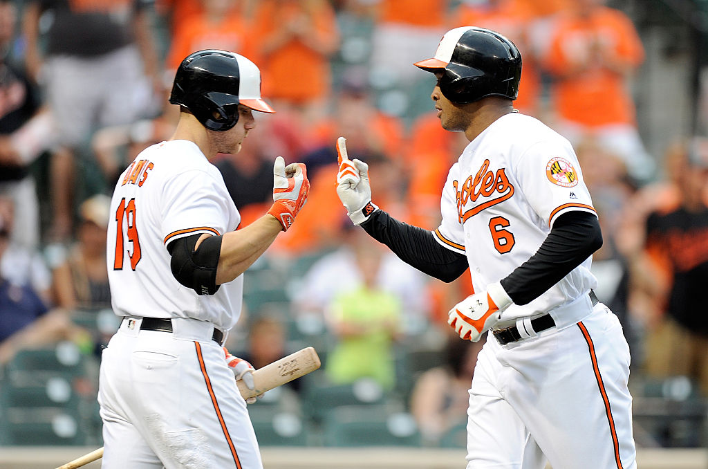 BALTIMORE, MD - AUGUST 21: Jonathan Schoop #6 of the Baltimore Orioles celebrates with Chris Davis #19 after hitting a home run in the fourth inning against the Houston Astros at Oriole Park at Camden Yards on August 21, 2016 in Baltimore, Maryland. (Photo by Greg Fiume/Getty Images)