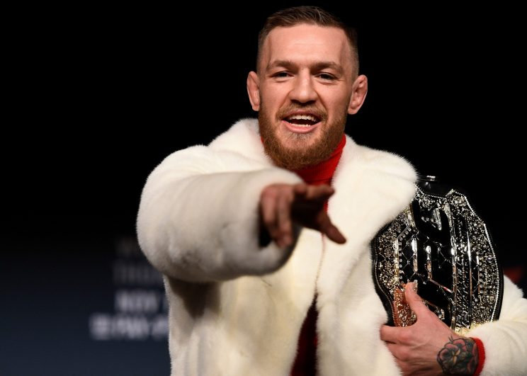 Connor McGregor has pulled no punches in prodding Floyd Mayweather on social media. (Getty)