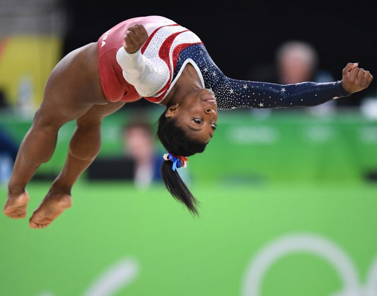 Simone Biles competes in the floor exercise (Getty)