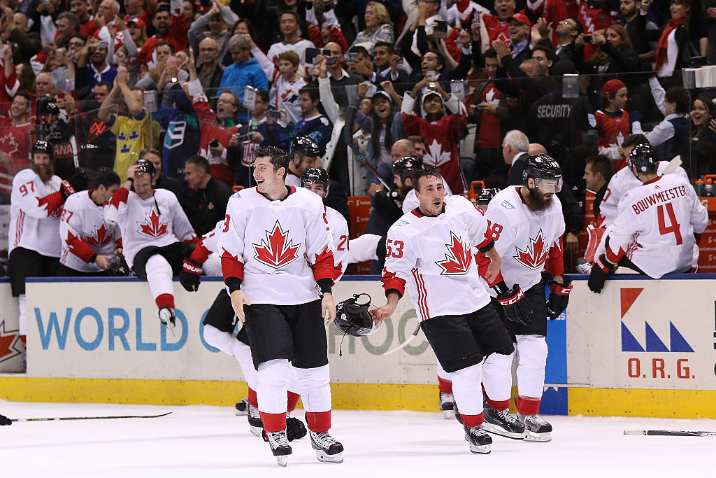TORONTO, ON - SEPTEMBER 29: Team Canada celebrates their World Cup Championship over Team Europe during Game Two of the World Cup of Hockey final series at the Air Canada Centre on September 29, 2016 in Toronto, Canada. Team Canada defeated Team Europe 2-1. (Photo by Chris Tanouye/Getty Images)