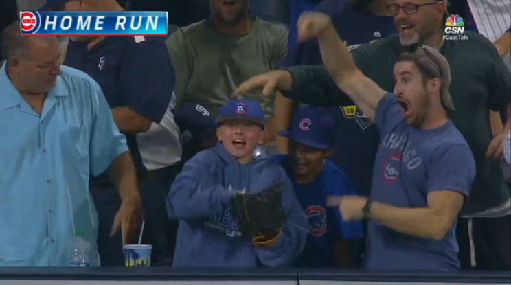 Cubs fans lose their minds after catching Kris Bryant home run