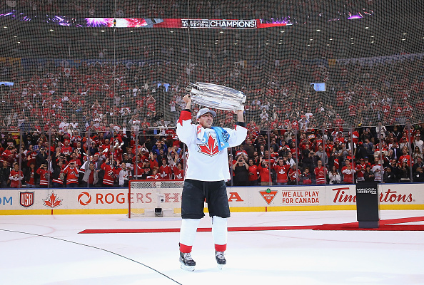 TORONTO, ON - SEPTEMBER 29: Brad Marchand #63 of Team Canada carries the World Cup of Hockey Trophy after Canada defeated Europe 2-1 during Game Two of the World Cup of Hockey final series at the Air Canada Centre on September 29, 2016 in Toronto, Canada. (Photo by Bruce Bennett/Getty Images)