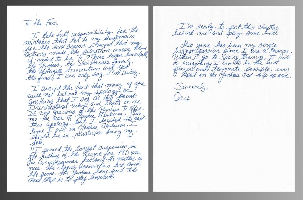 A-Rod's apology letter to fans (MLB)